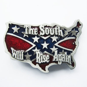 South Rise Again Cross Star Map Flag Riem Buckle/Gesp