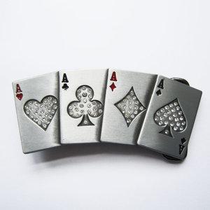 Hip Hop Black Rhinestones 4 Ace Poker Card Bling Riem Buckle/Gesp