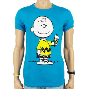 Peanuts - Charlie Brown - Ice Cream - Blauw Heren slim-fit T-shirt