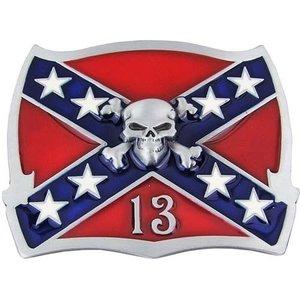 Confederate Schedel Vlag 13 Western Riem Buckle/Gesp