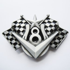 Vehicle V8 Checkered Flags Riem Buckle/Gesp