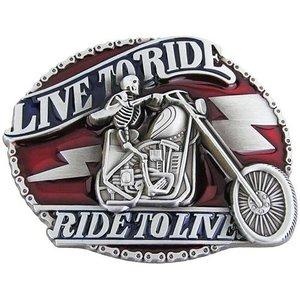 Live to Ride Skelet Riem Buckle/Gesp
