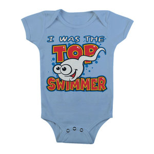 I Was The Top Swimmer - Blauw Baby Romper
