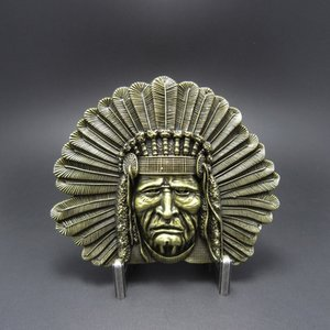 Native American Indian Chief Western Brons Riem Buckle/Gesp