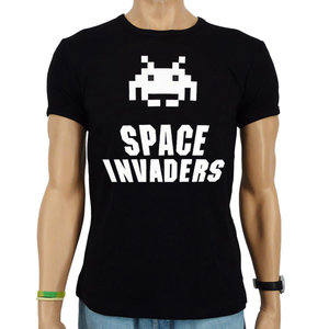 Space Invaders Heren Zwart slim-fit T-shirt