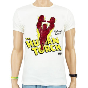 Human Torch Flame On Marvel DC Comics Heren Wit slim-fit T-shirt