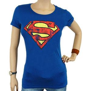 Superman Vintage Logo DC Comics Dames Blauw T-shirt