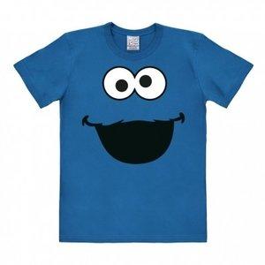 Sesamstraat Cookie Monster Face Heren Blauw easy-fit T-shir