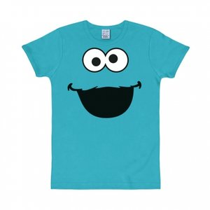 Sesamstraat - Cookie Monster Face - Blauw Heren slim-fit T-shirt