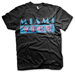 MIAMI VICE DISTRESSED LOGO T-SHIRT- EASY FIT - Zwart