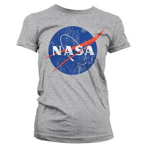 NASA WASHED INSIGNIA GIRLY TEE - Zwart